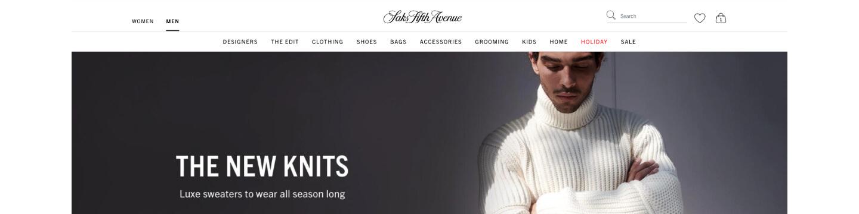 Screenshot of Saks.com Homepage