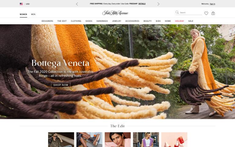 Capture d'écran de la page d'accueil de Saks.com