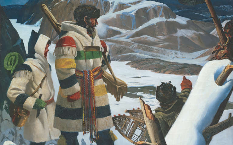 Illustration of adventurers exploring Canada with HBC stripes clothing in winter