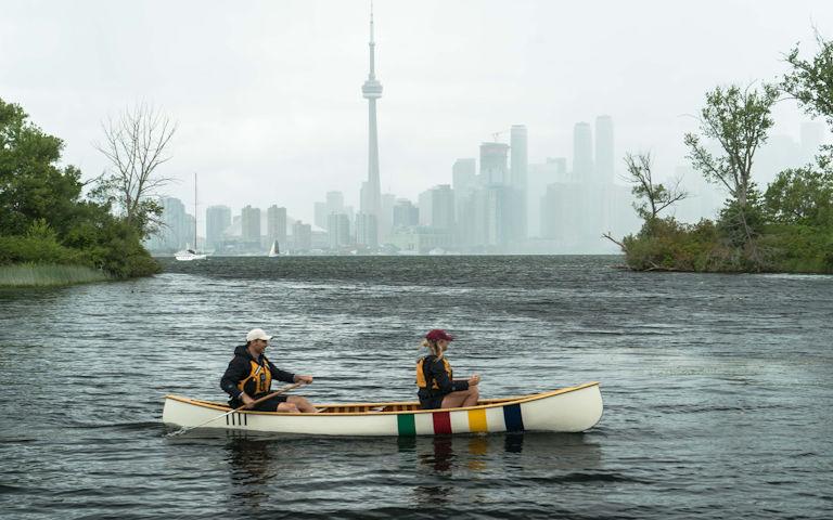 2 people in HBC canoe